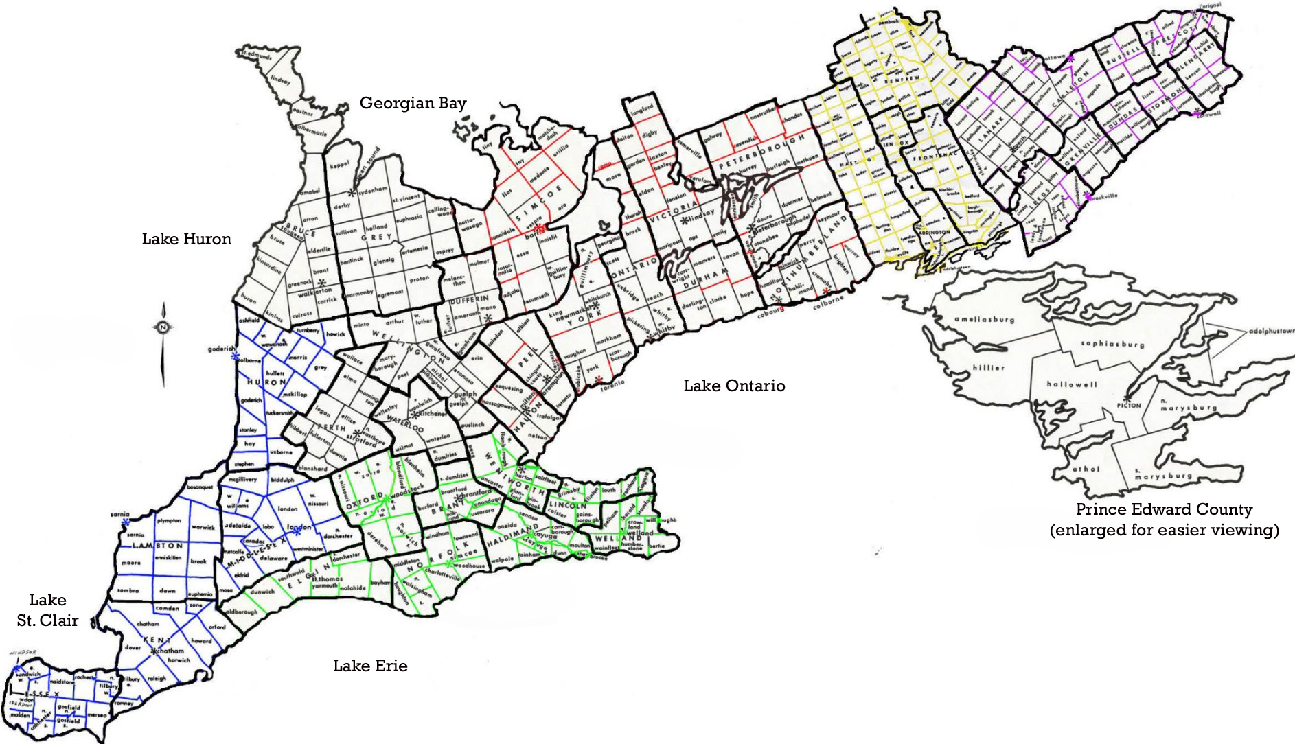 Map Of Ontario Counties Canada Ontario Map including Township and County boundaries