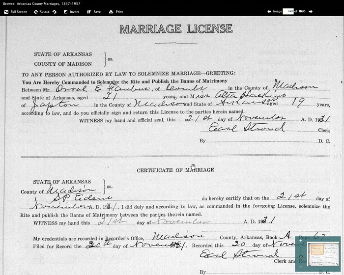 Arkansas marriage certificates
